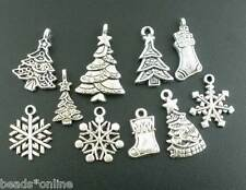 40Pcs Mixed Silver Tone Christmas Motif Charms Pendants