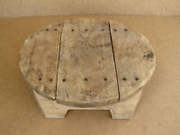 Old Antique Primitive Wooden Wood Table Plate Reapst Board Ottoman Rustic 19th