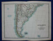 Original antique map SOUTH AMERICA, CHILE, ARGENTINA, URUGUAY, Johnston, 1896