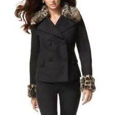 INC International Concepts Pea Coat Sz L Black Leopard Removable Faux Fur Trim