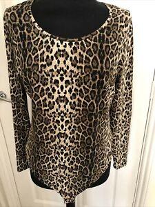 Brown Animal Print Long Sleeved BodySuit Size 16 NWOT