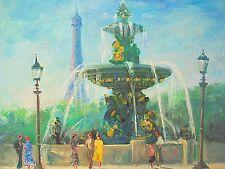 "Painting of Paris Place de la Concorde American Artist Nino Pippa 18""X24"""