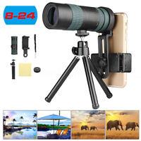 Adjustable Zoom Monocular Telescope Coated Lens Phone Camera Tripod Kit 8-24X30