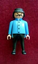Playmobil Man with Mustache and Blue Shirt Coat Black Pants