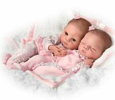 IT's TWIN GIRLS! 14 Inch Collectors Life Like Preemie Baby Girl Doll + Bassinet