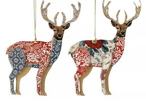 2 x Gisela Graham Wooden Stag Deer Hanging Christmas Tree Decorations 14cm