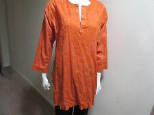 New India Chikan 100% Cotton Ethnic Kurta Kurti Collar Orange Sequin Ladies Top