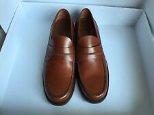 New Authentic Louis Vuitton Men's Shoes Brown Leather Strap Loafers LV Size 8.5