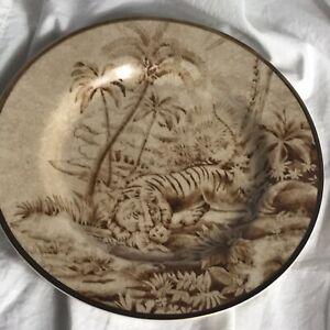 "M10 NOS Rare Pottery Barn Sabyasachi  9"" Brown Tiger Jungle Sslad Cake Plate"