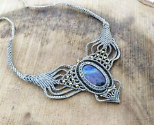 Macrame Necklace Pendant Jewelry Labradorite Cabochon Stone Handmade Bohemian V4