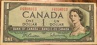 1954 BANK OF CANADA 1 DOLLAR BANK NOTE