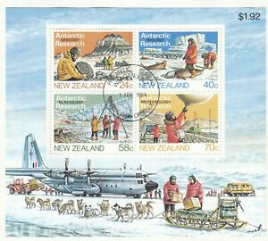 (85106) New Zealand Used Antarctic Research minisheet 1984 ON PIECE