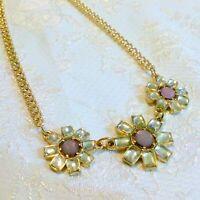 Gold Tone Rhinestone Flower Necklace