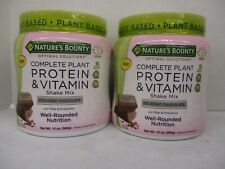 2 NATURE BOUNTY COMPLETE PLANT PROTEIN MIX CHOCOLATE 13oz EACH EXP: 5/21 CB 5297