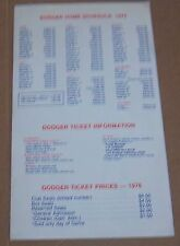 Los Angeles Dodgers   schedule & give aways 1976