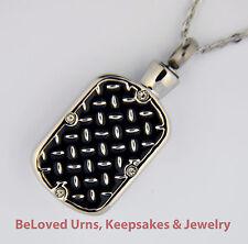 Diamond Plate Cremation Jewelry Pendant Urn Keepsake Memorial w/ Necklace-Funnel