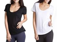 BONDS WOMENS SHORT SLEEVE RELAX SCOOP COTTON TEE TSHIRT TOP BLACK WHITE SIZE