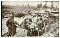 Antique WW1 postcard Belgians Playing Cards In The Trenches YMCA Hut Fund