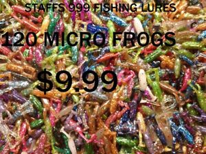 """120- 1.25"""" Double Paddle Tail Micro Frog Fishing Lures Crappies Bass Pan Fish"""