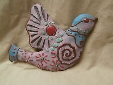 Wall hanging decor Bird plaque Mexican shabby chic