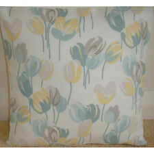 "16"" Cushion Cover Laura Ashley Ava Duck Egg Yellow and Grey Spring Crocus"