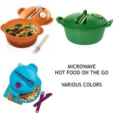 TUPPERWARE HOT FOOD ON THE GO MICROWAVE LUNCH SET w/ UTENSILS U PICK COLOR NEW