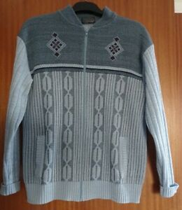 """Vintage Mens Tootal Zipped Cardigan size XL, 44"""". Acrylic."""