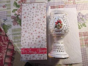MY FAVORITE THINGS~~[PIERCED POINSETTIA CANDLE LANTERN WITH GOLD TRIM]~~NEW