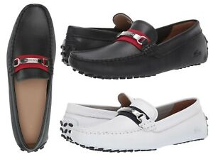 LACOSTE Ansted 319 Men's Casual Leather Fashion Loafer Shoes Black White