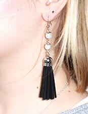 Long BLACK Tassle/Tassel & pearl Drop EARRINGS for Pierced Ears
