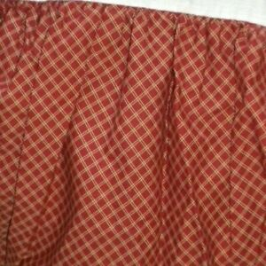 Chaps Elizabeth Queen Bed skirt Dust Ruffle Dark Red Burgundy Check Plaid Tan