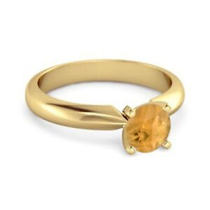 Solitaire 0.25 Cts Citrine Yellow Rhodium 925 Silver Promise Ring