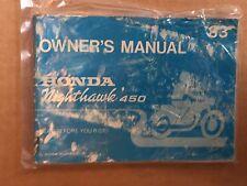 HONDA OWNERS MANUAL NIGHTHAWK 450 '83