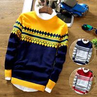 Mens Long Sleeve Sweater Jumper Knitted Pullover Printed Cardigan Sweatshirt