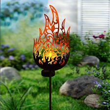 Solar Fire Flame Pathway Garden Decor Sculpture Yard Lawn Patio Art Stake Statue