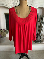 Sz 1X Susan Graver Red Detailed Scoop Neck 3/4 Sleeved Top Knit Shirt QVC NWOT