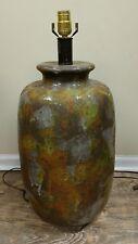 Vtg Mid Century Modern Fat Lava Drip Glazed Large Table Lamp   earth tones