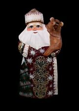 RUSSIAN WOODEN SANTA w/BEAR&X/Tree HAND CARVED/PAINTED #1019-1