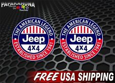 "2 Jeep American Legend Vinyl FULL COLOR 4"" Jeep Wrangler Decals CJ TJ Stickers"