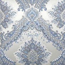 J. QUEEN Brianna QUEEN COMFORTER SET NWT Blue Ivory Soft White DAMASK FLORAL