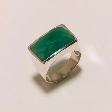 925 Solid Sterling Silver Charming Best Quality Green Onex Ring with Only10 Grm