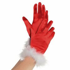 New Ladies Mrs Claus Santa Red White Fluffy Cuff Christmas Grotto Costume Gloves