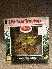 Vtg Gold Mini Star 11 Lite Christmas Tree Topper Single Flashing - Fundraiser