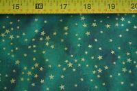 By 1/2 Yd, Gold Stars on Green & Dark-Green Quilting Cotton, N490