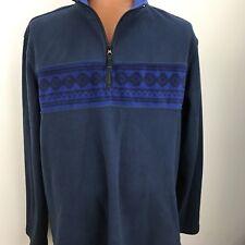 Polar Blue Fleece Pullover Jacket 1/4 Zipper Long Sleeve Aztec Cable Fair Isle