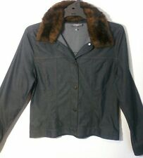 JACQUI E REMOVEABLE FUR TRIM LIGHT DARK BLUE DENIM JACKET SIZE 14