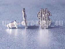 Lovely 925 US Dollar $ Sign Sterling Silver Cubic Zirconia CZ Ear Stud Earrings