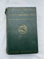 CARUSO'S METHOD OF VOICE PRODUCTION Marafioti - 1922 1st edition