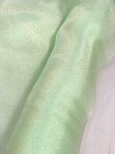 LIGHT SAGE SPRING GREEN ORGANZA FABRIC 150 CM WIDTH