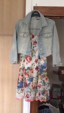 RIVER ISLAND drop Hem Vintage Style Cream Floral Cami Dress 10 Swing Holiday🦄
